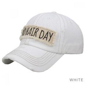 *NEW* Baseball Hat Bad Hair Day Distressed White